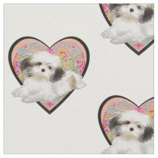 shitzu in heart fabric