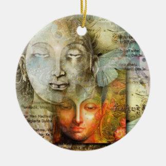 Shiva and Buddha Round Ceramic Ornament