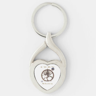 shiva-cern Silver-Colored twisted heart keychain