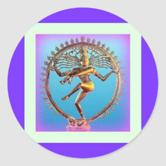 Shiva Dancing in Violet Mysticism by Sharles Round Sticker