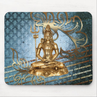 Shiva - Mousepad blue, gold damask