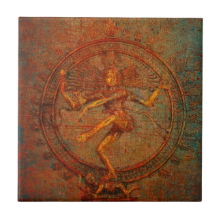 Shiva On Distressed Background Overlay Tile