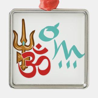 Shiva Trishula OM Silver-Colored Square Ornament