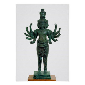 Shiva with many arms and heads, Angkor Poster