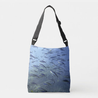 Shoal of Fish. Diving Underwater. Crossbody Bag