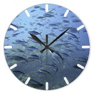 Shoal of Fish. Diving Underwater. Large Clock