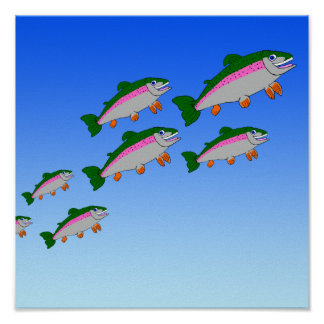 Shoal of trout poster