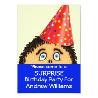 Shocked Face For Surprise Birthday Party Card