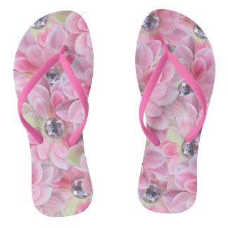 Shocking Flora Gems Flip Flops