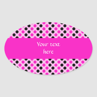 Shocking Pink and Black Polka Dots Oval Sticker