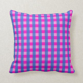 Shocking Pink and Blue Gingham Pattern Throw Pillow