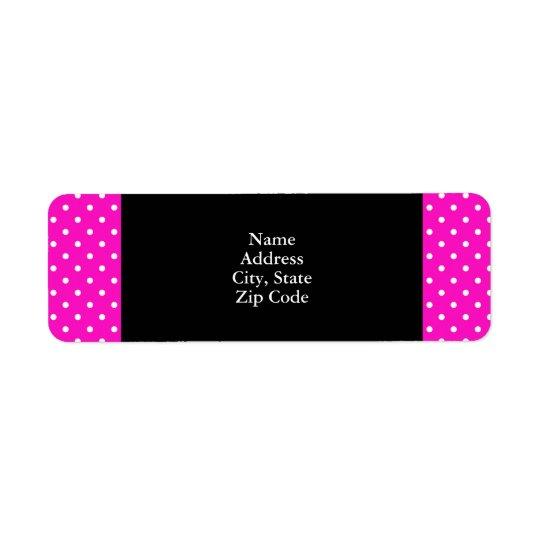 Shocking Pink and White Polka Dot Pattern Return Address Label