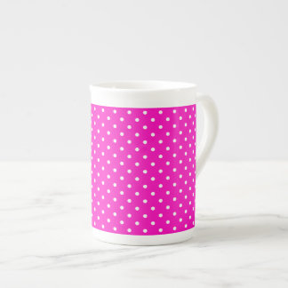 Shocking Pink and White Polka Dot Pattern Tea Cup