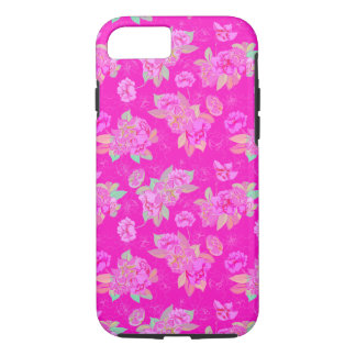 Shocking Pink Floral Miami Style iPhone 8/7 Case