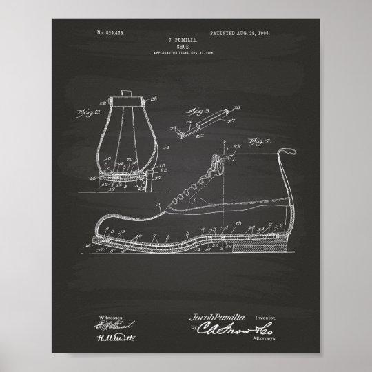 Shoe 1906 Patent Art Chalkboard Poster