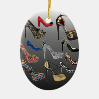 Shoe High Heels Collage Customize Ceramic Oval Ornament