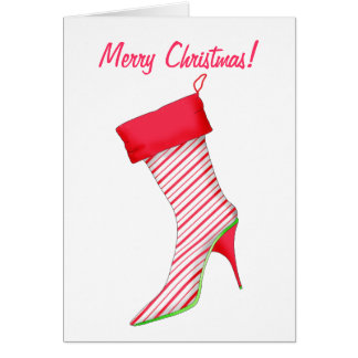 Shoe Lover High Heel Boot Stocking Merry Christmas Card