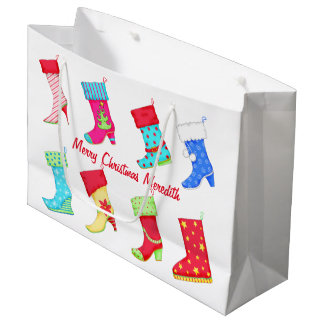 Shoe Lover Name Personalized Christmas Stocking Large Gift Bag