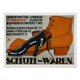'Shoe Shops', Zurich (colour litho) Poster