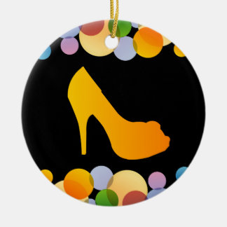Shoe with colorful circles ceramic ornament
