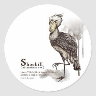 shoebill - mocha classic round sticker