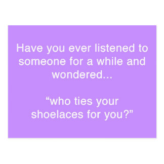 SHOELACE INSULT FUNNY HUMOR SAYINGS POSTCARD
