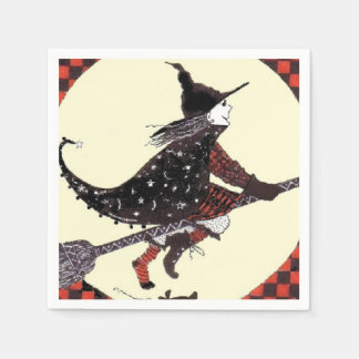 Shoeless Witch on Broom Disposable Napkin