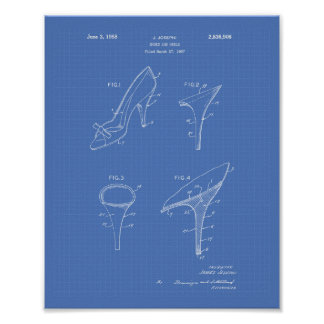 Shoes and Heels 1958 Patent Art Blueprint Poster