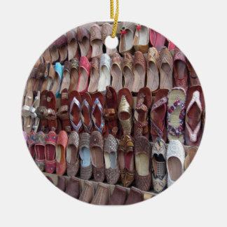 Shoes in India Round Ceramic Ornament