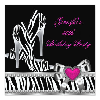 Shoes Pink 30th Birthday Party Zebra Black Card