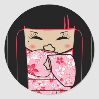 """""""Shokio"""" Mayumi Giggles Classic Round Sticker"""