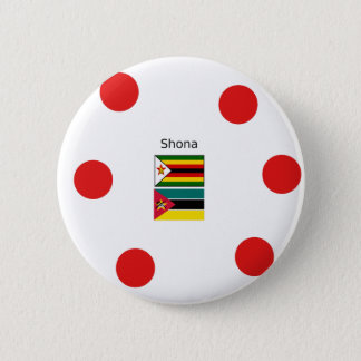 Shona Language And Zimbabwe and Mozambique Flags 2 Inch Round Button