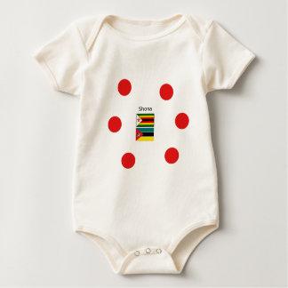 Shona Language And Zimbabwe and Mozambique Flags Baby Bodysuit