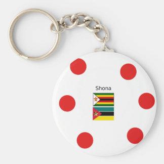 Shona Language And Zimbabwe and Mozambique Flags Keychain