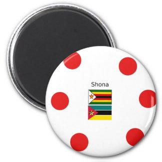Shona Language And Zimbabwe and Mozambique Flags Magnet