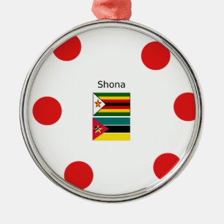 Shona Language And Zimbabwe and Mozambique Flags Metal Ornament