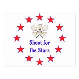 Shoot for Stars Badminton Postcard