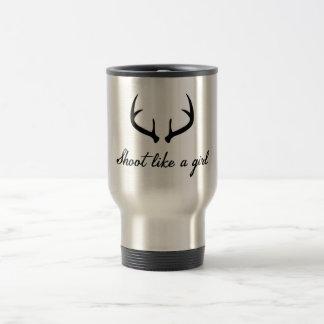 """""""Shoot Like a Girl"""" Antler Travel Mug"""