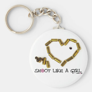 Shoot Like A Girl Basic Round Button Keychain