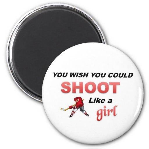 Shoot like a girl refrigerator magnets