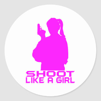 SHOOT LIKE A GIRL ROUND STICKER