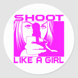 SHOOT LIKE A GIRL CLASSIC ROUND STICKER