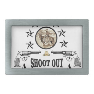 shoot out western art belt buckle