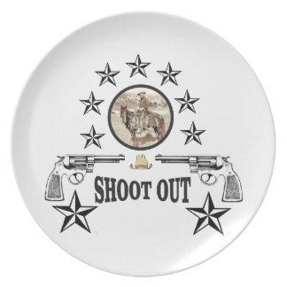 shoot out western art plate