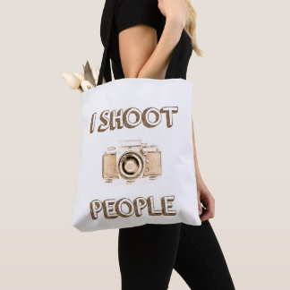 shoot people funny text photo camera photographer tote bag