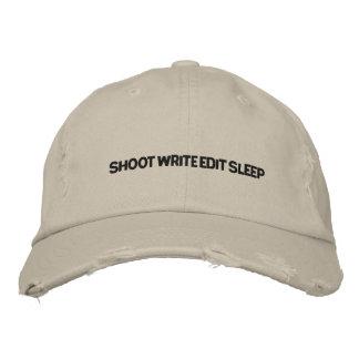 SHOOT , WRITE, EDIT, SLEEP EMBROIDERED BASEBALL CAP