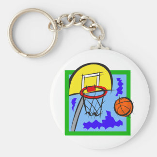 Shooting Hoops Basic Round Button Keychain