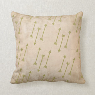 Shooting Moss Green Arrows Tribal Grunge Texture Throw Pillow