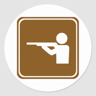 Shooting Range Highway Sign Classic Round Sticker