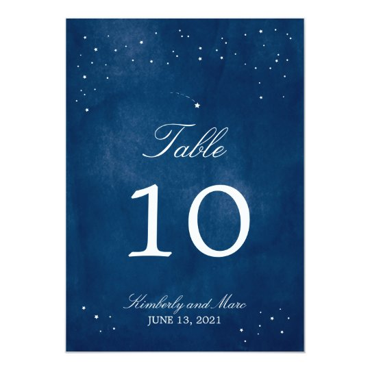 Shooting Star Blue Watercolor | Table Number Card